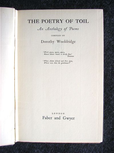 Image for The Poetry Of Toil : compiled by Dorothy Wooldridge.