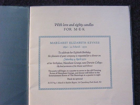 Image for With Love & Eighty Candles : for M. E. K. : Margaret Elizabeth Keynes [wife of Sir Geoffrey Keynes] 1890 -1970. To Celebrate Her 80th Birthday ... a dinner ... at her birthplace Newnham Grange, now Darwin College &c.